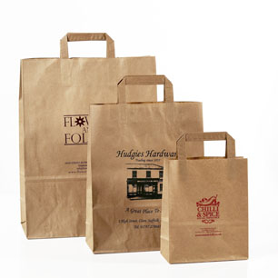 Personalised Brown Paper Carriers Paper Tape Handles 260 X
